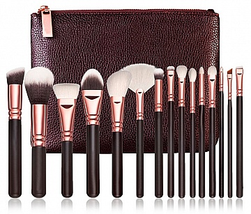 makeup-brush-kit-15pcs-bag-neccasair-black-rose-gold-syntetic-brushes