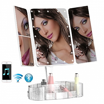 Makeup Mirror LED Tri-fold with bluetooth speaker & organizer